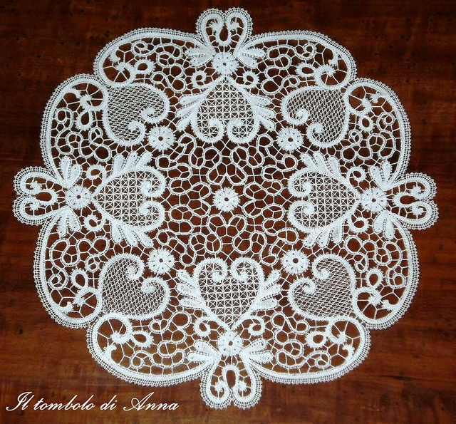 Rosaline Lace - a form of bobbin lace. Pattern could be adapted to tape lace crochet or Romanian point lace crochet.