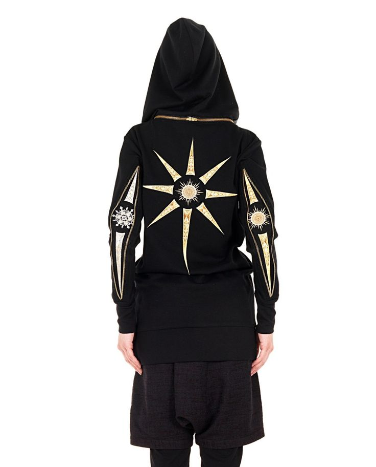 YOHANIX Black sweatshirt with removable hood long sleeves two front pockets metal decorations 62% PL 33% RY 5% SE