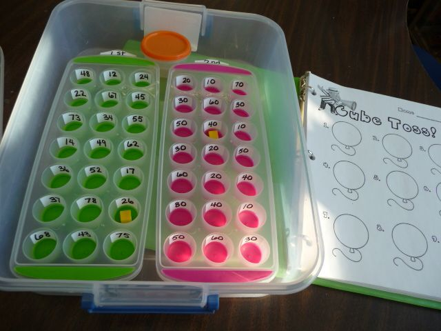 Math tub idea:  Get two ice trays from the dollar spot at Target, write 2-digit numbers on white labels for each hole, and kids toss a cube in each tray and add numbers together on recording sheet or whiteboard.  They think it's so fun!!Guide Math, Math Tubs, Math Center, Ice Cubes, Add Numbers, Ice Trays, White Labels, Tubs Ideas, Addition Games