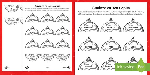 Cuvinte cu sens opus Fișă de lucru-Romanian - Crăciun, Moș Crăciun, globuri, decorațiuni, brad, glob, sărbătoare, antonime, cuvinte cu sens