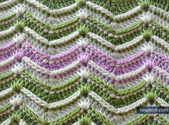 Crochet Textured Wave Stitch Tutorial - (mypicot)༺✿ƬⱤღ  http://www.pinterest.com/teretegui/✿༻
