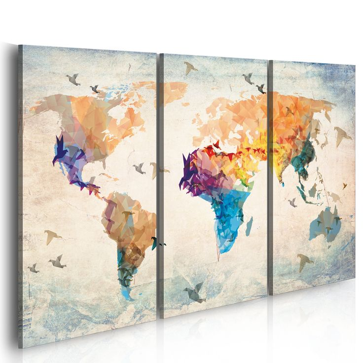 Grand format impression sur toile images 3 parties carte du monde t - Toile moderne grand format ...