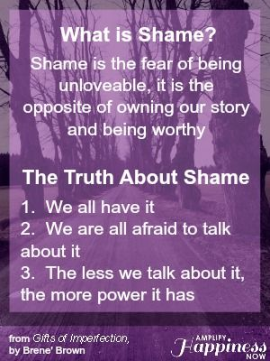 What is shame?  Here's the answer based on Brene' Brown's book The Gifts of Imperfection #daringway  #shame #vlnerability #daringgreatly #risingstrong http://amplifyhappinessnow.com/blog/2014/05/05/fall-oregon-2014-daring-way-events/