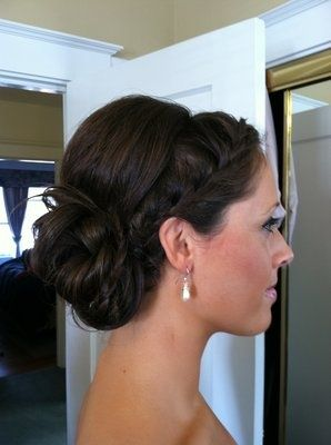 Braided Side UpdoHair Ideas, Up Dos, Hairstyles, Bridesmaid Hair, Wedding Updo, Updos, Wedding Hairs, Hair Style, Low Buns