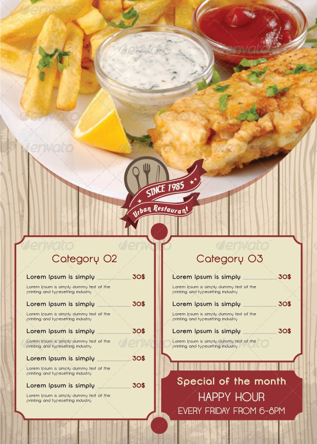 66 best Restaurant Food Menu Graphic Designs images on Pinterest - lunch menu template free