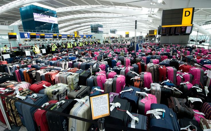 More than 2,400 pieces of baggage are seen lined-up in Terminal 5 at London's Heathrow Airport, London during a baggage handling exercise to prepare staff at London's main airport for the forthcoming Olympic and Paralympic games