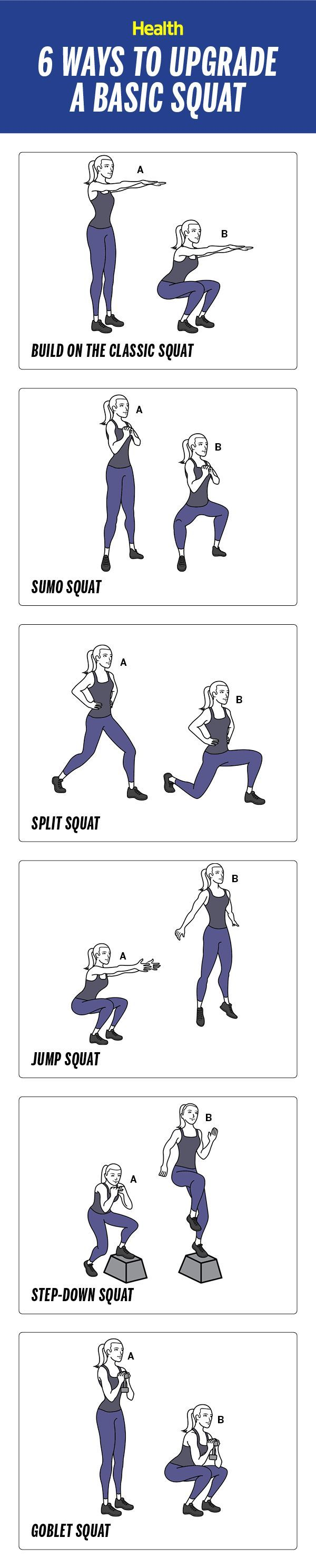 6 ways to upgrade a basic squat: Five squat variations so you can chisel your core and build a better butt   Health.com