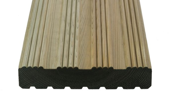 Q-Deck Winchester style decking is made from high quality certified softwood. Its finished size after machining is 27 x 144mm and is a reversible profile, meaning either the grooved or ribbed side can be used uppermost.