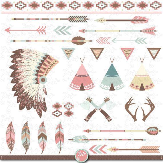 """Paquete de imágenes prediseñadas tribal """"Indio CLIP ART"""", carpas tipi, tocado de plumas, plumas, flechas, fronteras, India clip art, invitación de la boda Trb001"""