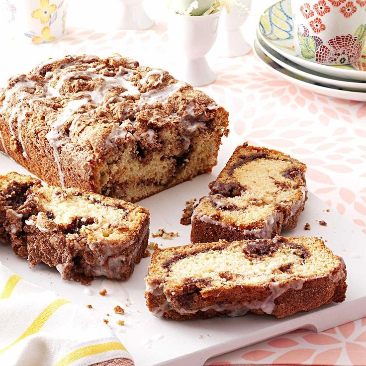 Cinnamon Swirl Quick Bread Recipe -While cinnamon bread is a natural for breakfast, we love it so much we enjoy it all day long. This is a nice twist on traditional cinnamon swirl yeast breads. —Helen Richardson, Shelbyville, Michigan
