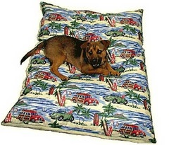 """Diamond Head Days Dog Bed (Dean Miller prints) - Your four legged prized family member will have tropical dreams all night long with our tropical themed dog bed. Fido will remember all those hours you spent on the beach with him throwing his ball on the beach, back and forth, back and forth.... Priceless memories for any dog.           Size measures 30"""" x 40""""       Machine washable with zipper enclosed removeable cover      Poly fill insert with a sturdy non-slip backing"""