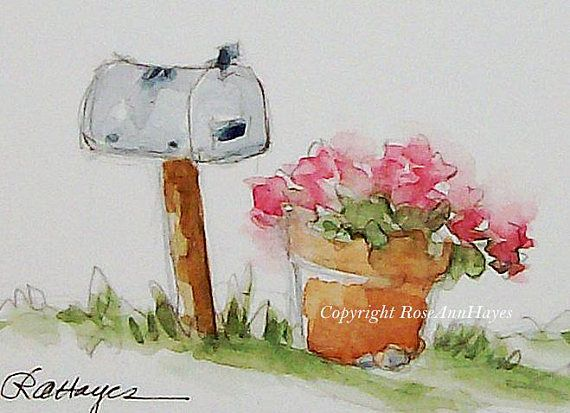 Mailbox and Pink Flowers in Flower Pot Original Watercolor