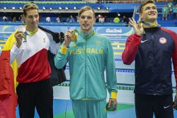 TWA-0050927 © WestPix 2016 Rio Olympics. Rio de Janeiro, Brazil. Swimming day 5, Olympics Aquatic Stadium. Kyle Chalmers takes out the Gold in the 100m freestyle. Picture: Simon Santi The West Australian