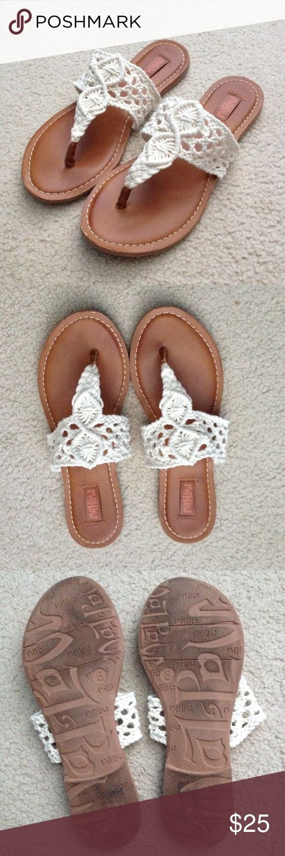 Macrame Sandals Super cute macrame sandal flip flops. Women's size 8. Purchased from Pacsun. Has a boho beach vibe. Cute for festivals. Chestnut brown with off-white colored macrame design. Footbed and macrame are in very good shape and show little if any wear. Small nicks / sings along edges (pic 4) and some discoloration to bottoms from normal wear (pic 3). Only worn 3 or 4 times. Good used condition (: PacSun Shoes Sandals