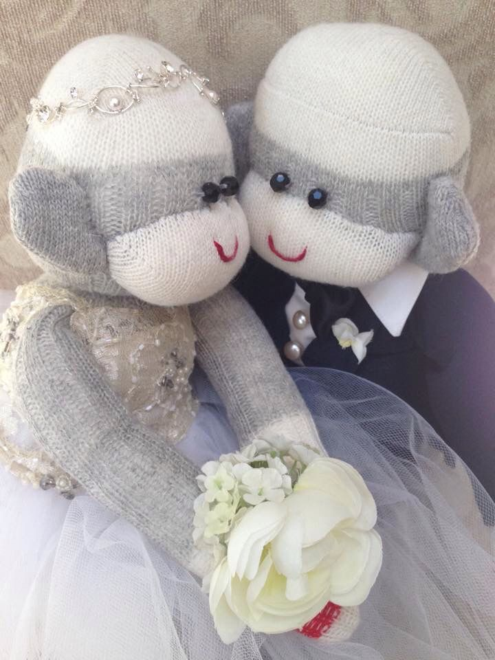 Bride & Groom pearls and lace by The Secret Society of Sock Monkeys. One of a kind hand crafted Special Order