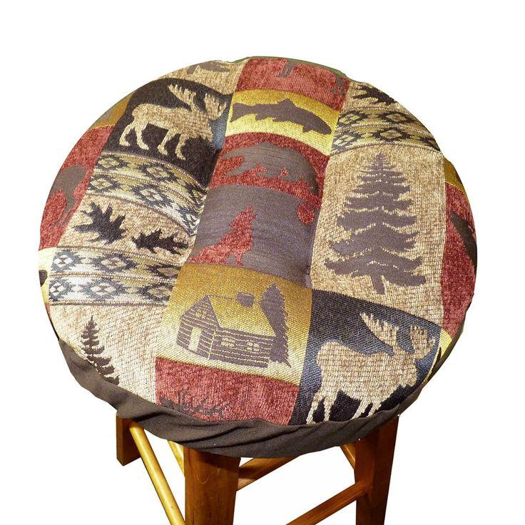 Woodlands Fairbanks Bar Stool Cover with Cushion and Adjustable Drawstring Yoke