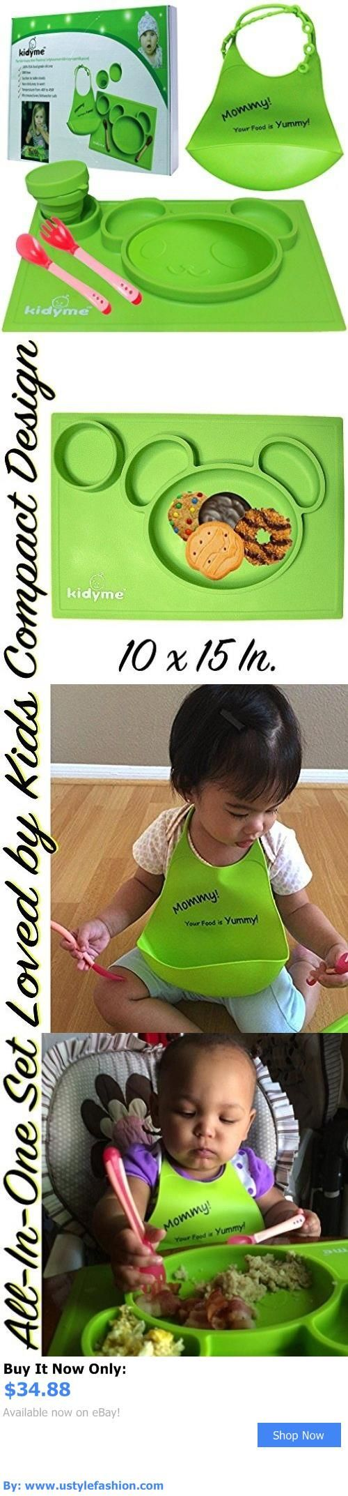 Baby Feeding Sets: Silicone Placemat And Bib Set By Kidyme? All-In-One Kids Flatware Dining Tray BUY IT NOW ONLY: $34.88 #ustylefashionBabyFeedingSets OR #ustylefashion
