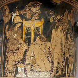 Orestes at Delphi flanked by Athena and Pylades among the Erinyes and priestesses of the oracle, perhaps including Pythia behind the tripod - Paestan red-figured bell-krater, c. 330 BC.
