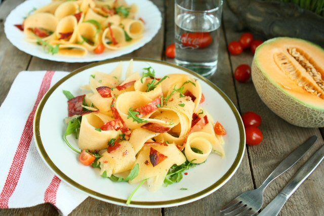 Cantaloup Ribbons and Chorizo Salad