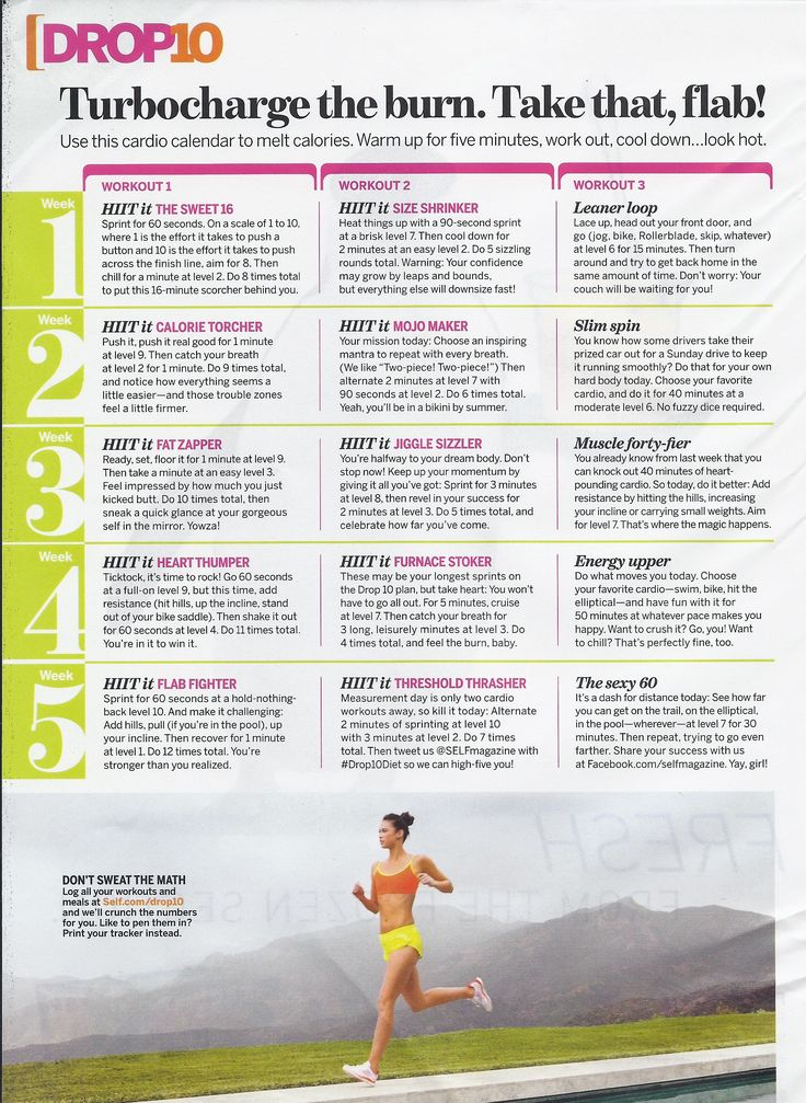 These are the interval workouts that I love!! So glad it's on Pinterest- my magazine is getting pretty tattered!