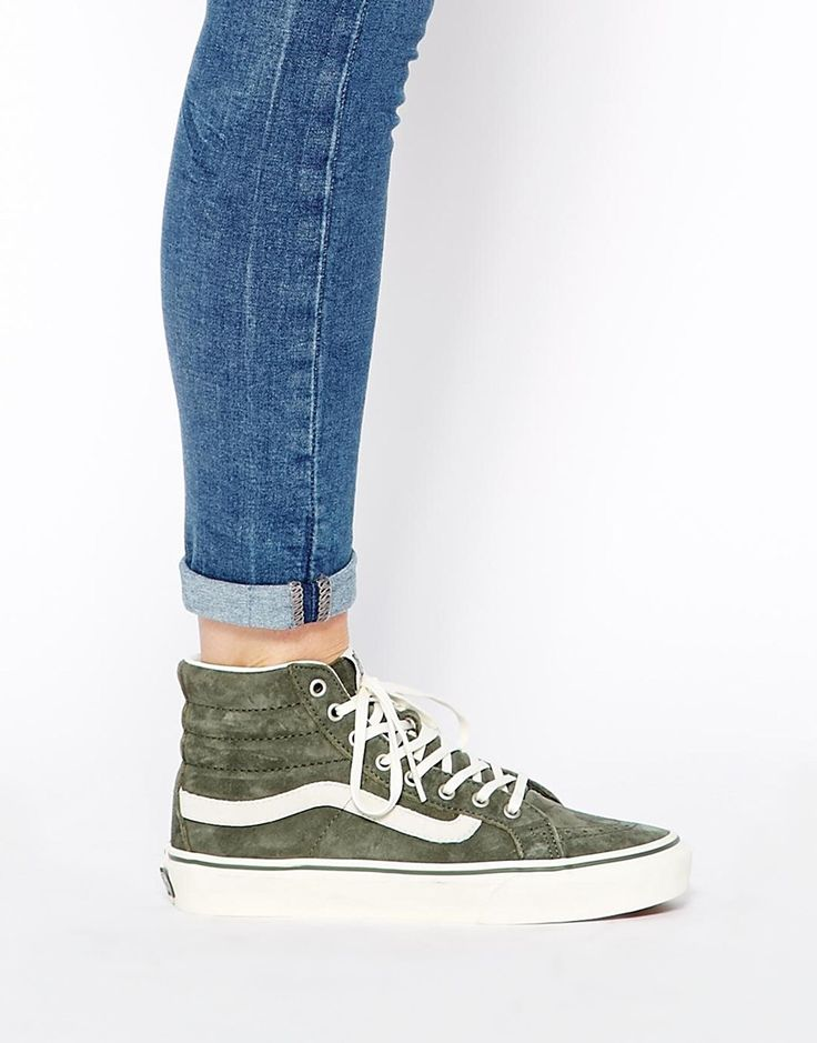 Vans SK8 Hi Slim Khaki Hi Top Trainers #shoes