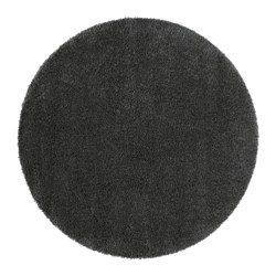 "ÅDUM rug, high pile, dark gray Diameter: 4 ' 3 "" Area: 14.32 sq feet Surface density: 10.81 oz/sq ft Diameter: 130 cm Area: 1.33 m² Surface density: 3300 g/m²"