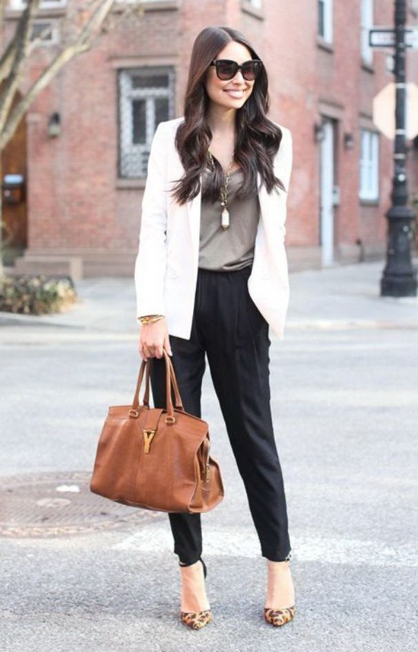 Outfit. White jacket, black pant, militar top