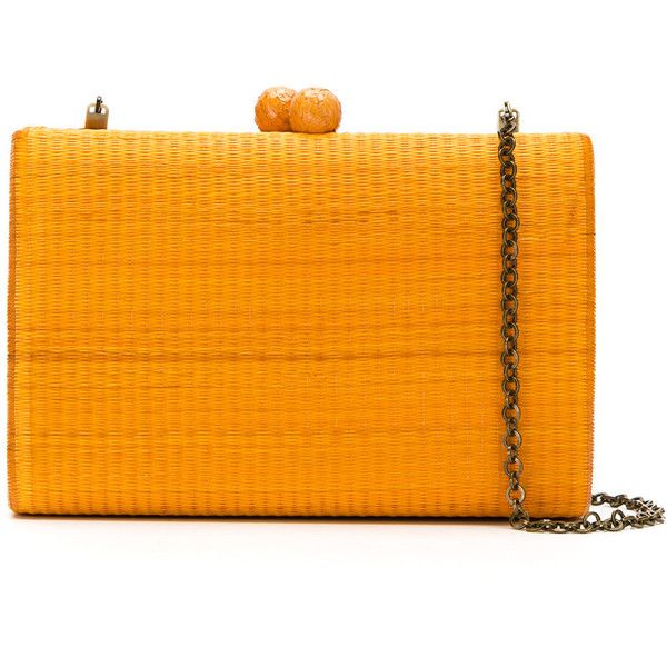 Serpui clutch bag (332.470 CLP) ❤ liked on Polyvore featuring bags, handbags, clutches, chain strap purse, orange clutches, structured handbags, chain-strap handbags and straw purse