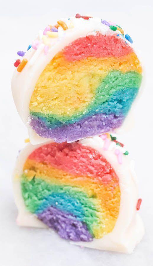 Rainbow Cake Truffles Dessert Rezept – Geburtstag Rezeptideen – Rainbow Cake Pop …   – ! ~  DESSERTS / SWEET TOOTH ~~ !