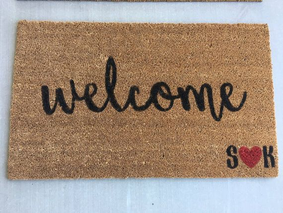 Custom Welcome Mat/Personalized Welcome Mat/ Heart Welcome Mat/ Door Mat