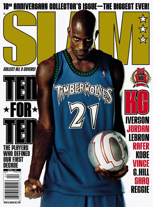 SLAM 77: Minnesota Timberwolf Kevin Garnett appeared on the cover of the 77th issue of SLAM Magazine (2004, cover 2 of 3).