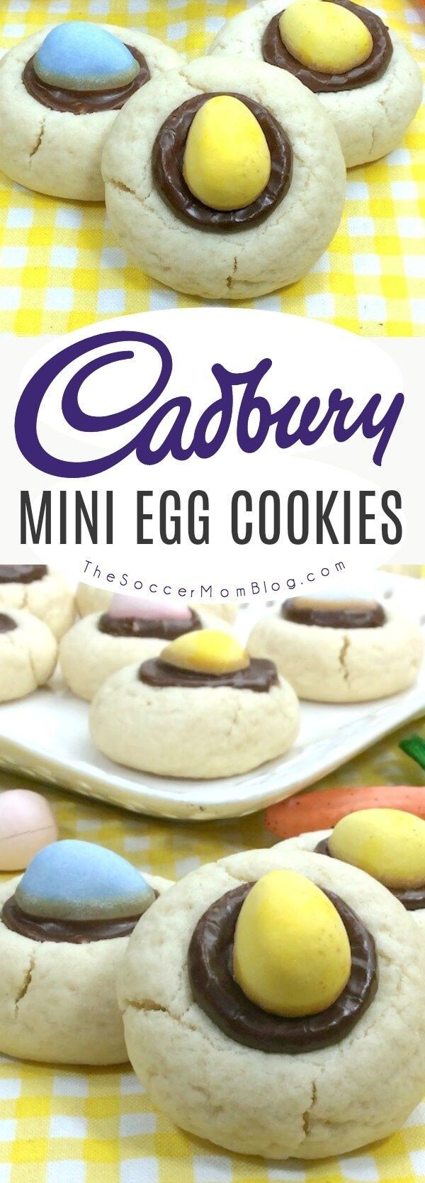 Mini Cadbury Egg Cookies are a festive thumbprint cookie just for Easter! The perfect bite-sized spring treat to make for family celebrations, classroom parties, or just for fun! #Easter #cookies