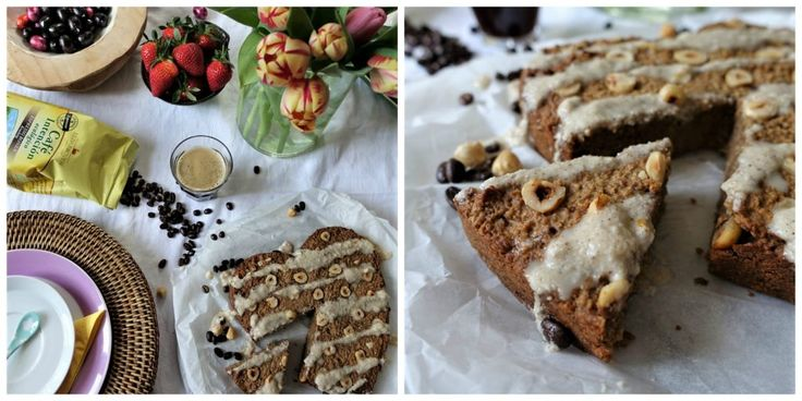 Vegan hazelnoot-espresso cake met vanille glazuur - Lisa goes Vegan