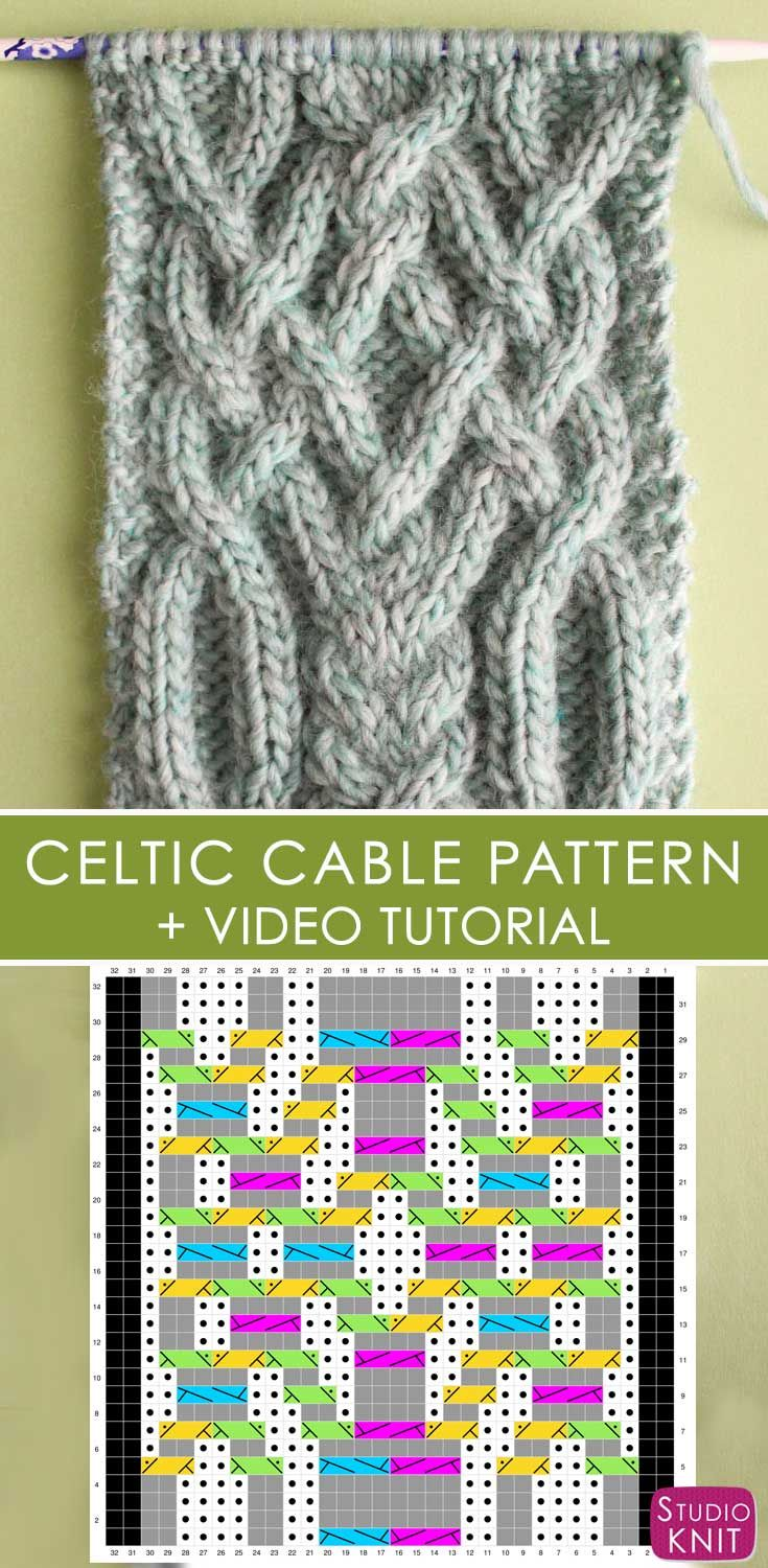 Chart Pattern Included! Learn How to Knit this Fancy Celtic Cable Pattern by Studio Knit with FREE written and chart pattern, along with video tutorial.