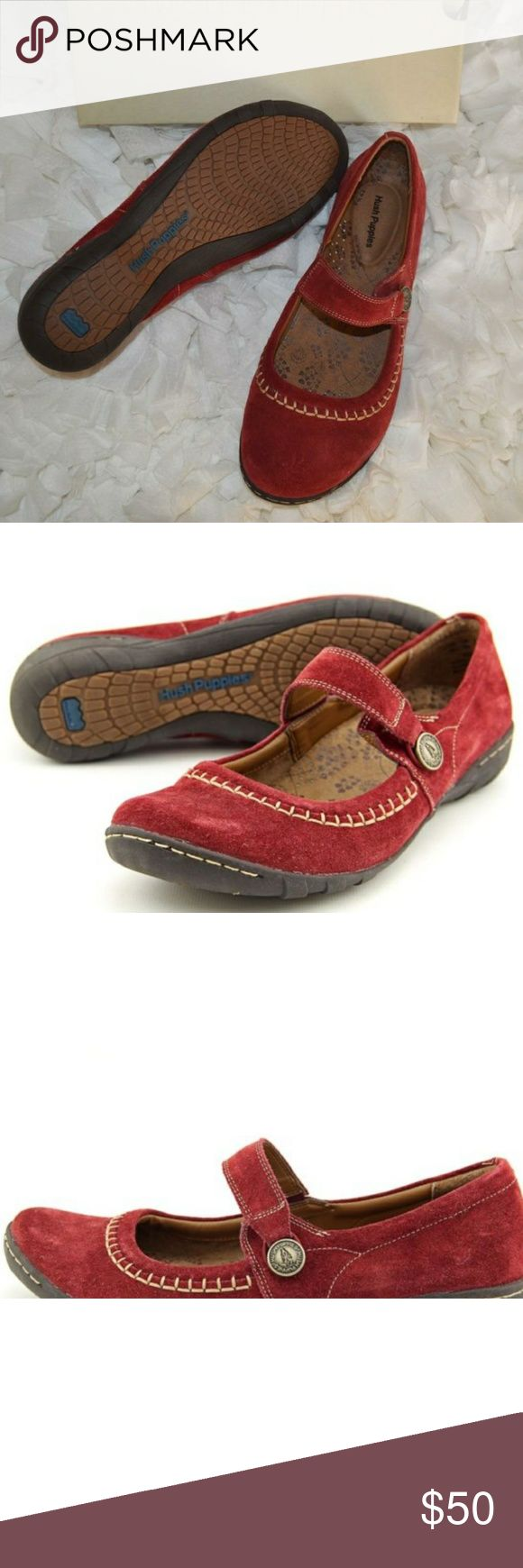 """Hush Puppies Gyneth women slip on loafer New with box. Dark red suede slip on loafers. Heel measures approx. 1.25"""". Molded and contoured extra cushioned ethylene vinyl acetate footbed and extra heel foam. Rubber outsole. Hush Puppies Shoes Flats & Loafers"""
