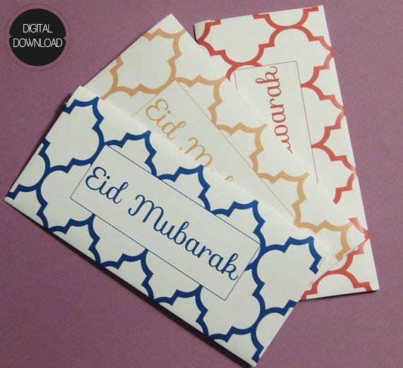 SET OF 3 Printable Moroccan Eid Money Envelope by CrescentandDawn
