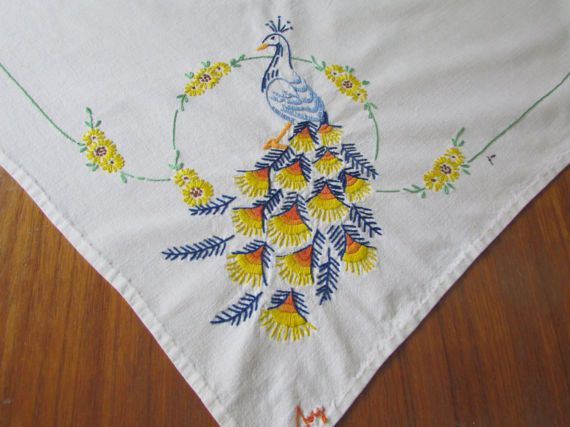 1950s Hand Embroidered Blue Peacock Tablecloth by FlashbackFinds