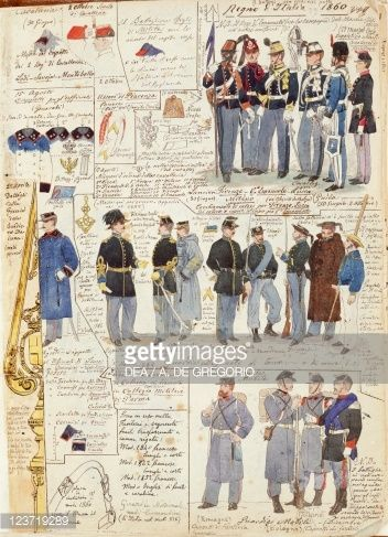 Stock Photo : Uniforms and badges of Kingdom of Italy by Quinto Cenni, color plate, 1860