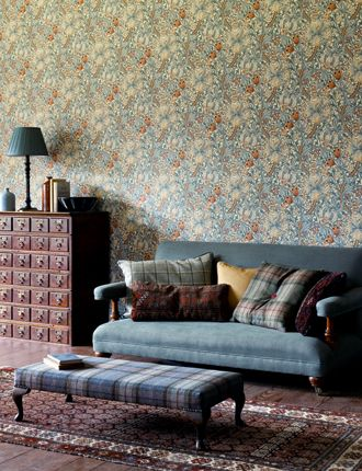 Morris Archive Wallpapers, 210401, Slate/Manilla, £58