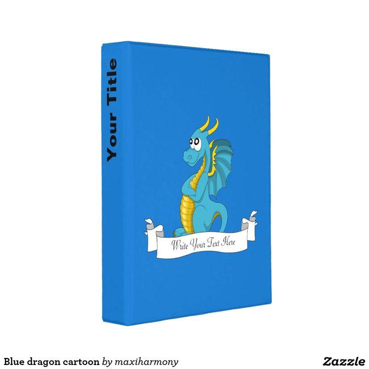 Blue dragon cartoon mini binder