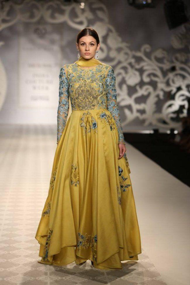 Varun Bahl at India Couture Week - yellow blue layered anarkali