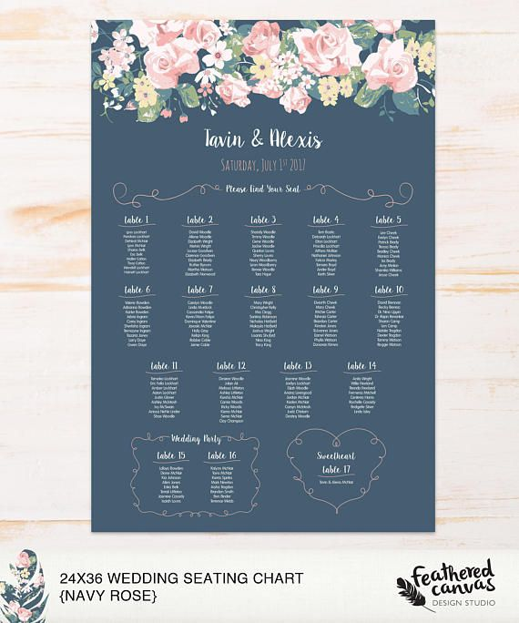 Check out this item in my Etsy shop https://www.etsy.com/ca/listing/566754770/diy-wedding-seating-chart-navy-roses
