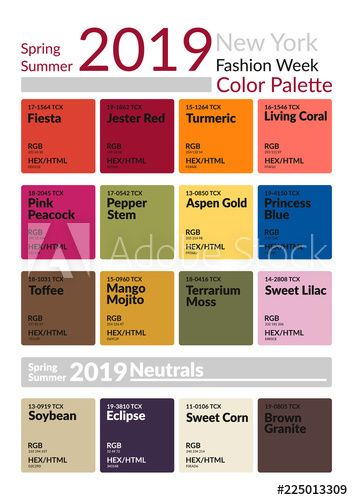 New York Fashion Week Spring Summer 2019 Color Palette. Colors of the Year. Palette fashion colors guide with named color swatches. Fashion color trend