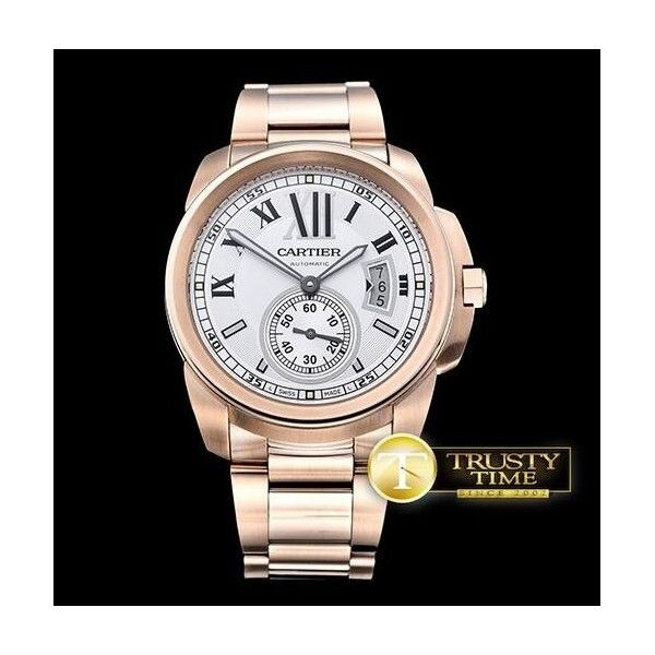 Replica Cartier Calibre de Cartier White Dial Gold Steel W7100018