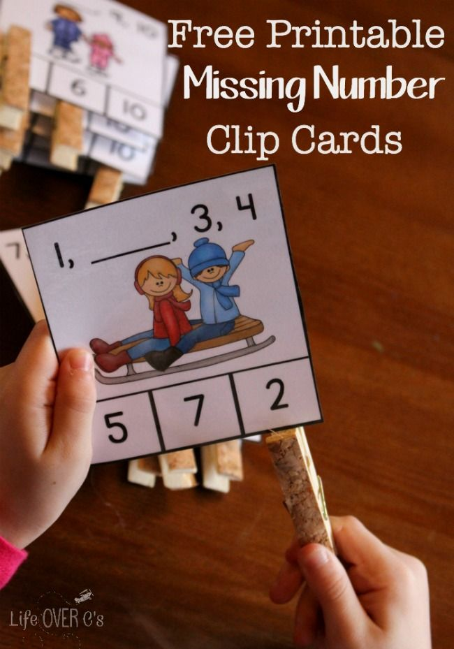 FREE Winter Missing Number Clip Cards for Kindergarten