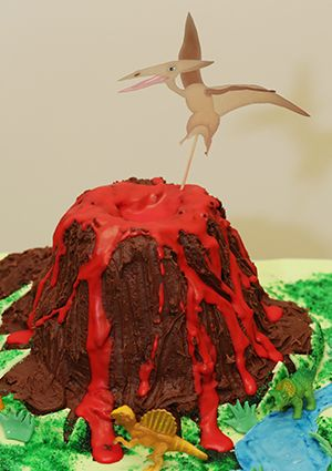 Dinosaur Party Ideas Volcano Cake