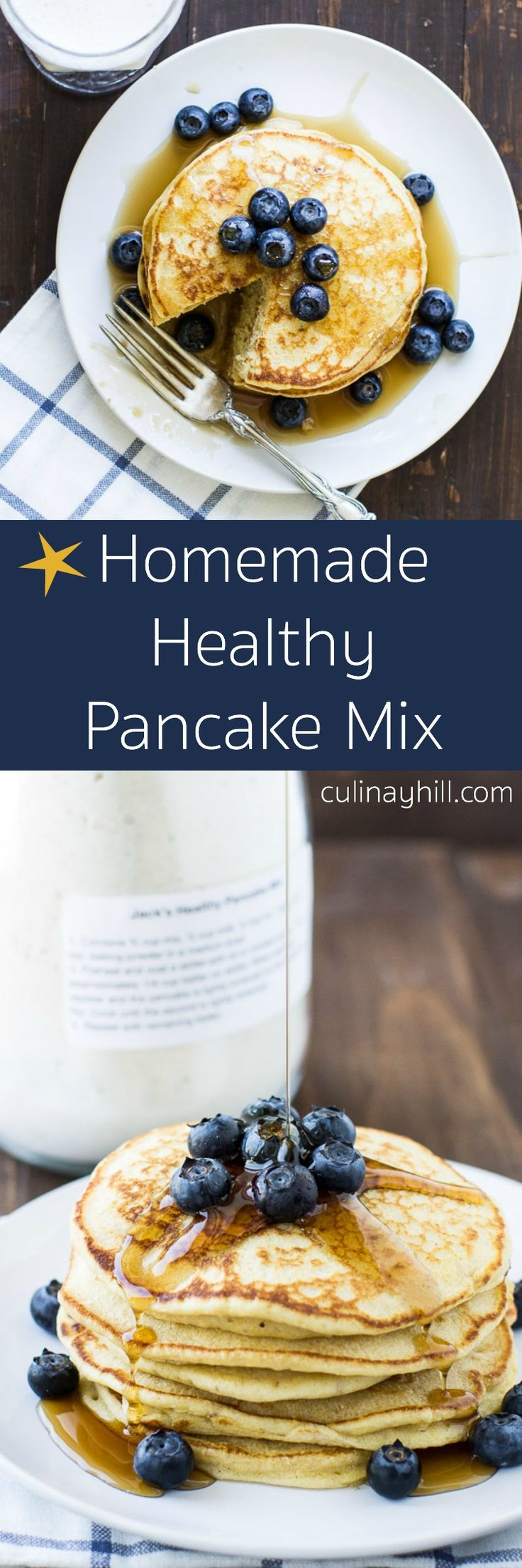Customize your own blend of homemade Healthy Pancake Mix with this tried-and-true recipe. So quick and easy, you'll never go back to store-bought again! No sugar added.