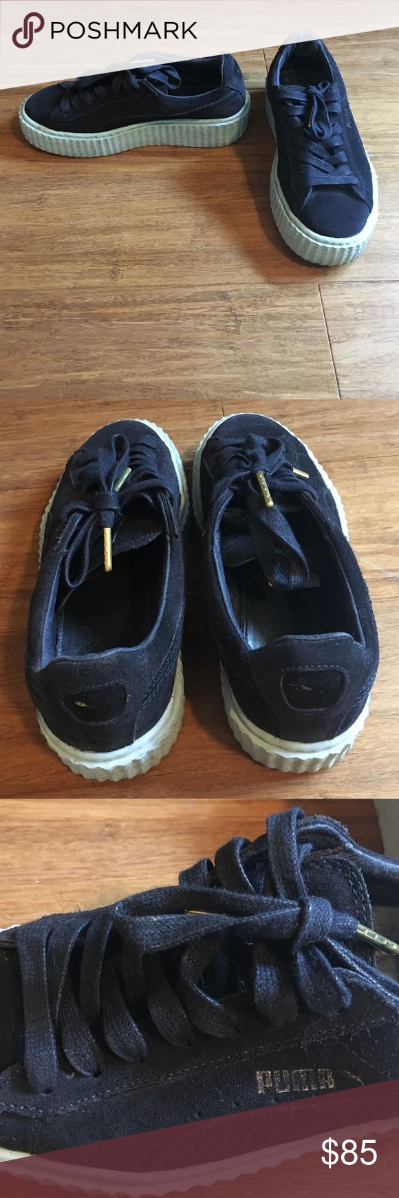 Rihanna Puma Creepers Navy 6 I bought these and they're too small on me. I've tried to wear them a few times but they just tear up my feet. I'm a true 6.5 and these would be good for people who are 5-6. The puma logos are faded even though they've only been worn twice. This is due to the suede material. Make me an offer! Sold out everywhere. Puma Shoes Sneakers
