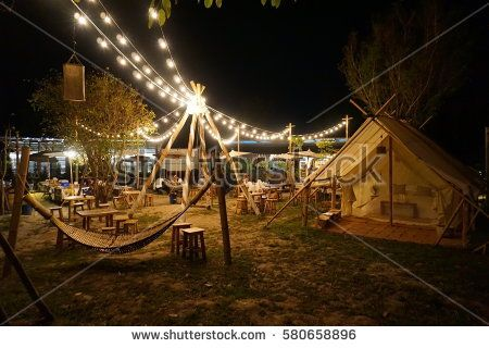 BBQ night party on the playgound of Camping resort in chaingmai thailand