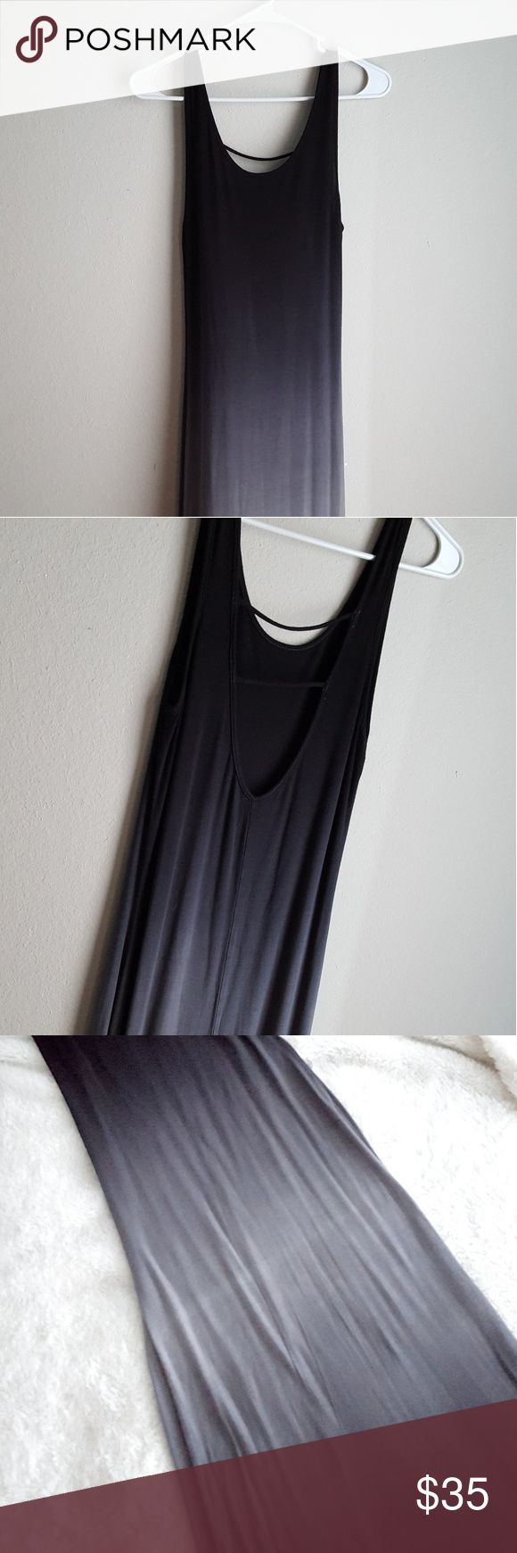 Ombre Scoopneck Maxi Sundress Black Gray Gorgeous, never worn, ombre maxi sundress.  *New without tags. *5ft from the top of the straps to the bottom of the dress. *It is a beautiful ombre that fades from black to gray in the midline and back to black at the bottom. *Great condition. *96% Raylon, 4% Spandex.  *Labeled small but will fit a small or medium; stretchy flowy material.  I didn't want to let go of this piece but it has been in the back of my closet since I purchased it so I figured…